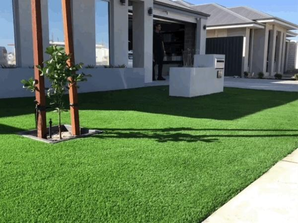 fake lawn cost in Perth per meter square front of yard