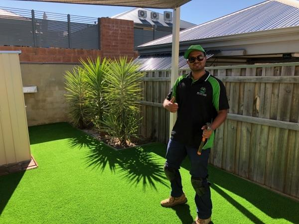 photo of artificial grass reviews front yard in Perth